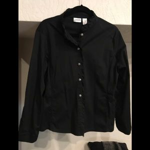 Chico's Black Ruffle Front Button Jacket